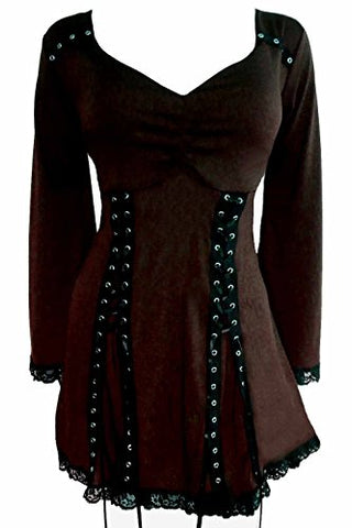 Dare to Wear Electra Corset Top: Victorian Gothic Steampunk Plus Size Women's Shirt for Everyday Halloween Cosplay Festivals
