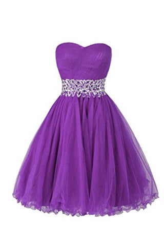 Ellames Sweetheart Homecoming Beading Short Prom Dresses Ball Gown