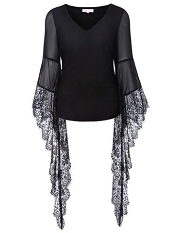 Women Vintage Gothic Lace T Shirt Tops Long Sleeve V-Neck BP000349