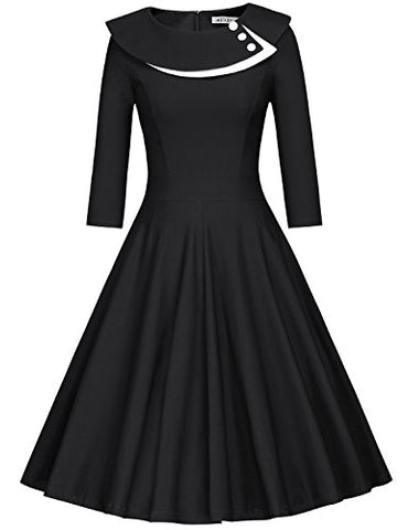 MUXXN Women's Vintage 3/4 Sleeve Party Rockabilly Swing Dress