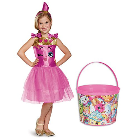 Shopkins Lippy Lips Deluxe Child Costume and Candy Pail Bundle - Medium