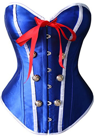 Kimring® Women's Burlesque Sailor Satin Body Shaper Strapless Overbust Corset