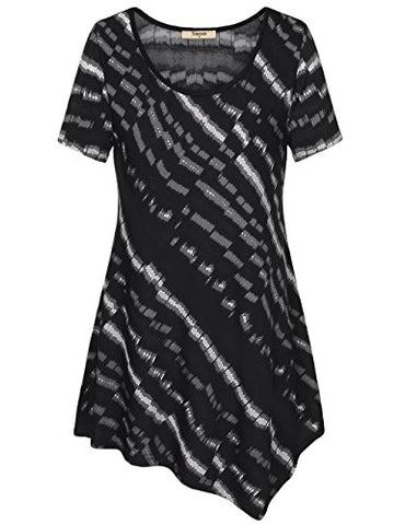 Timeson Women's Short Sleeve Asymmetrical Print T-Shirt Tunic Top