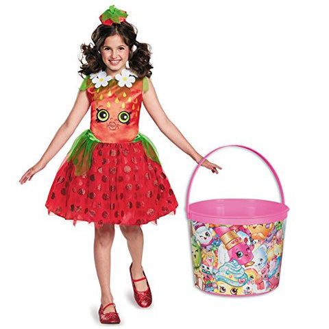 Shopkins Strawberry Classic Deluxe Child Costume and Candy Pail Bundle - Medium