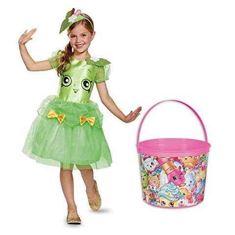 Shopkins Apple Blossom Deluxe Child Costume and Candy Pail Bundle - Small