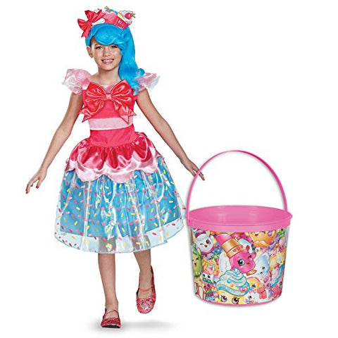 Shopkins Jessicake Deluxe Child Costume and Candy Pail Bundle - Medium