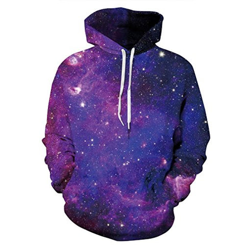 SAYM Unisex Galaxy Pockets 3d Pullover Hoodie Hooded Sweatshirts Hoodies
