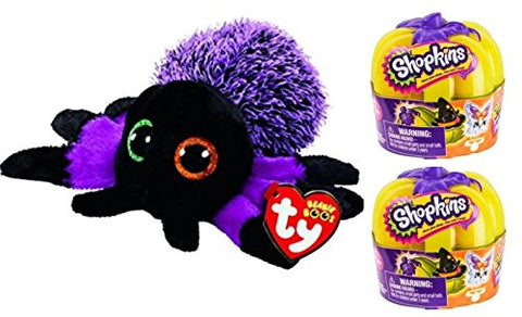 Halloween Bundle! Ty Beanie Boos Creeper Spider PLUS 2 Shopkins Glow in the Dark Pumpkins!