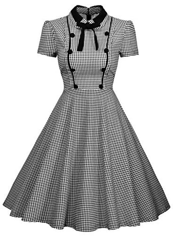 Missmay Women's Elegant Vintage 1940's Short Sleeve Plaid Swing Dress
