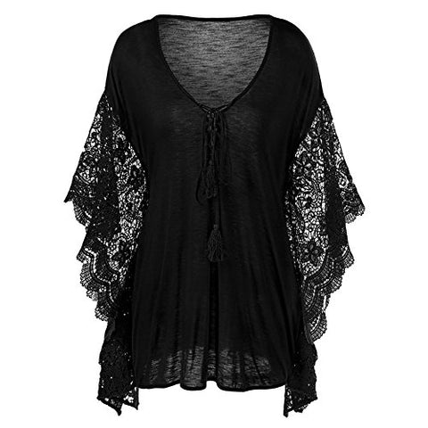 Baifern Plus Size Women's V-neck Top Butterfly Sleeve Lace Blouses T-shirt