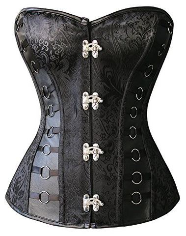 Kimring® Women's Steampunk Vintage Jacquard Faux Leather Steel Boned Corset