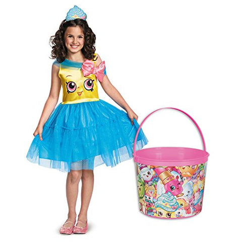 Shopkins Cupcake Queen Deluxe Child Costume and Candy Pail Bundle - Small
