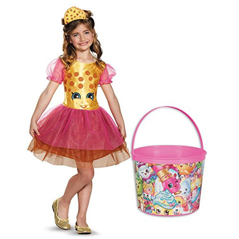 Shopkins Kookie Cookie Deluxe Child Costume and Candy Pail Bundle - Small