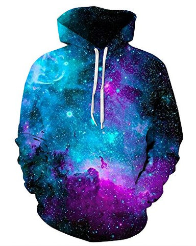 NAYINLAN Unisex Couple 3D Galaxy Print Pullover Hoodie Hooded Sweatshirt