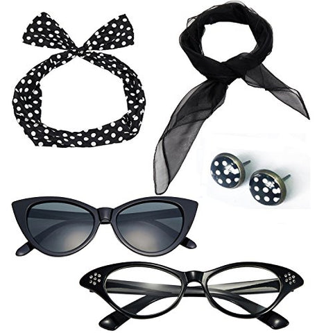50's Costume Accessories Set Chiffon Scarf Cat Eye Glasses Bandana Tie Headband and Earrings