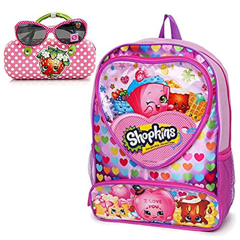 Shopkins Desserts Backpack and Strawberry Kiss Sunglasses with Hard Shell Carry Case