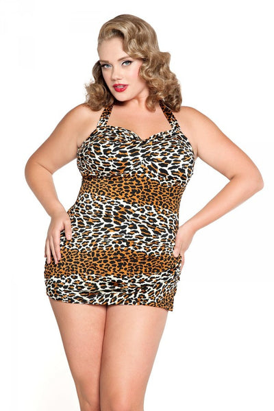 Glamour Swimsuit in 1950's Leopard Print-Plus