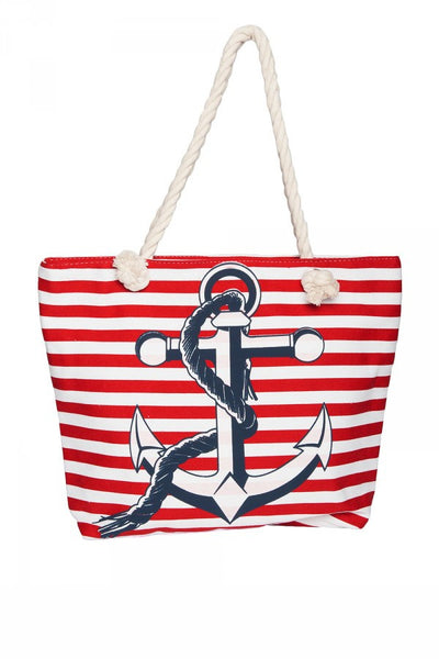 Nautical Stripe Tote Bag in Red