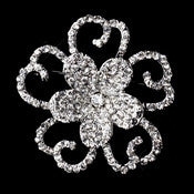 Antique Silver Clear Rhinestone Flower Brooch 220