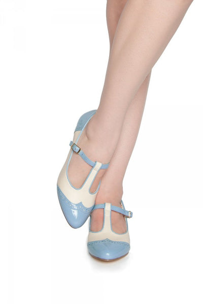 Ione T-Strap Low Heel in Powder Blue