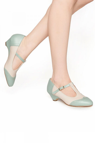 Ione T-Strap Low Heel in Mint