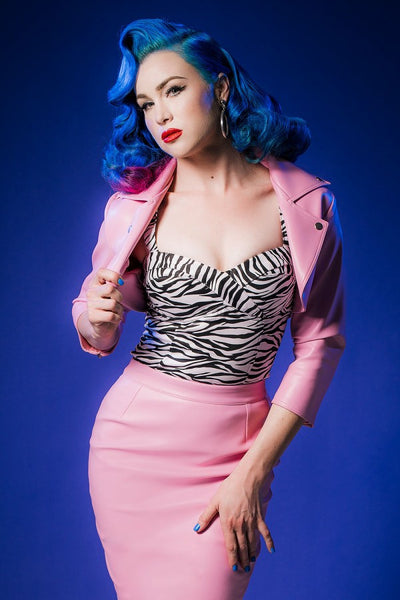 Deadly Dames Moto Babe Bolero in Pink Faux Leather