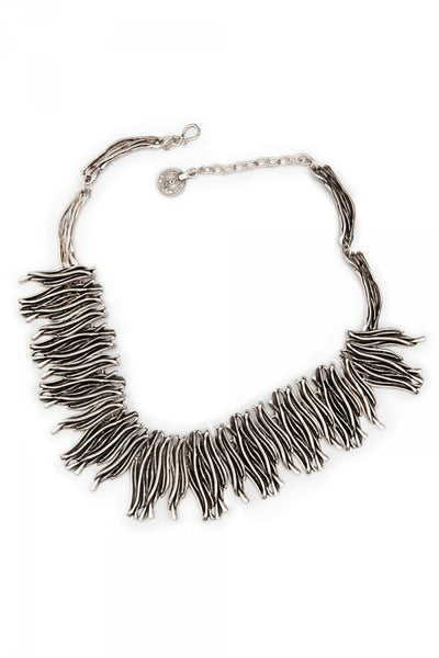 Waving Bamboo Necklace in Pewter