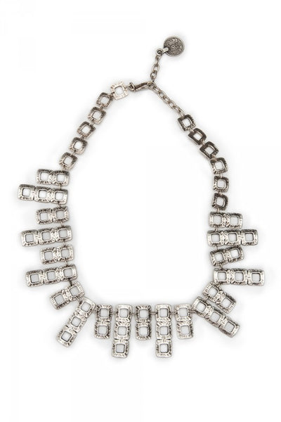 Geometric Glamour Necklace in Pewter