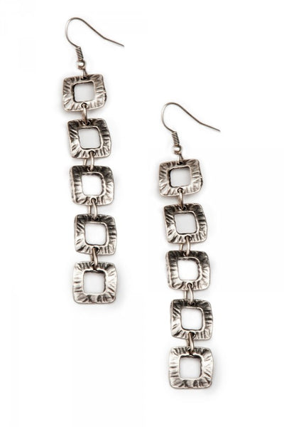 Turkish Pewter Earrings Small Square