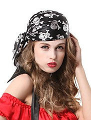 Black Pirates Skeleton Hip Hop Halloween Party Headpiece