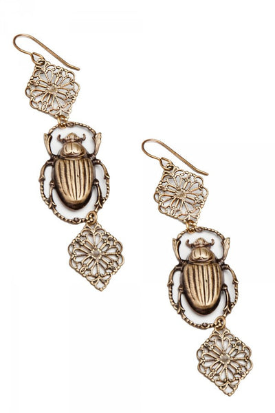 Insect Diva Brass Scarab Earrings