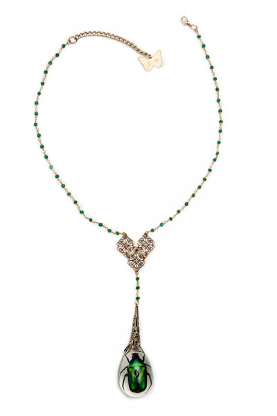 Insect Diva Green Scarab Necklace