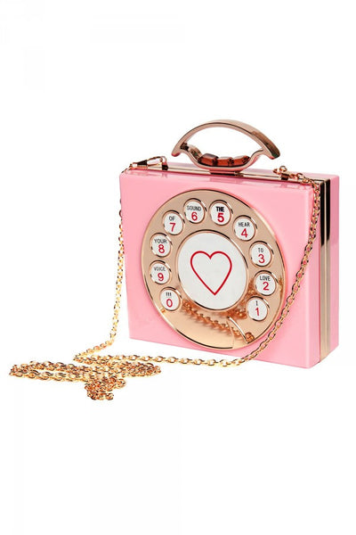 Retro Rotary Phone Clutch in Pink