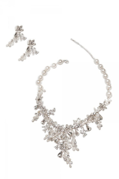 Strand of Pearls Floral Necklace and Earrings set