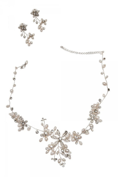 Floral Pearl Necklace and Earrings Set