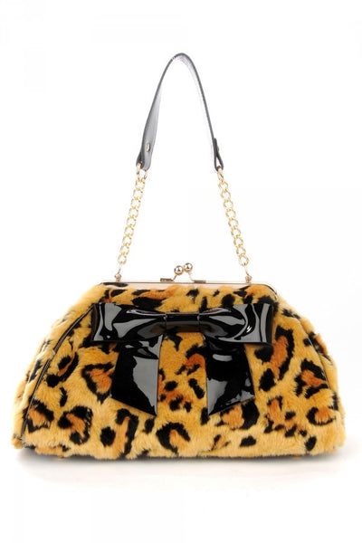 Final Sale - Bow Handbag in Faux Leopard Fur with Black Vinyl Trim