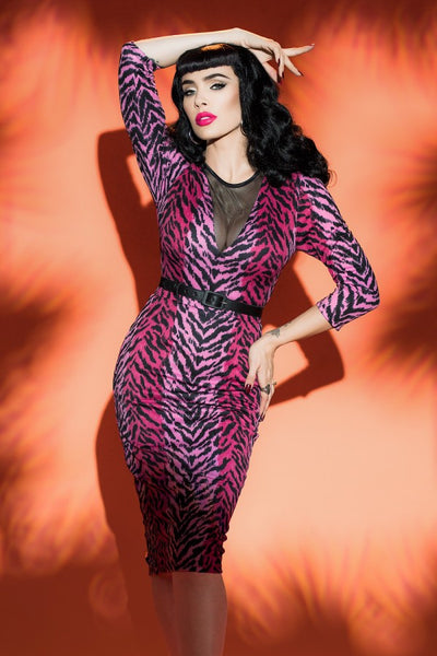 Deadly Dames Misfits Dress in Pink Tiger Print