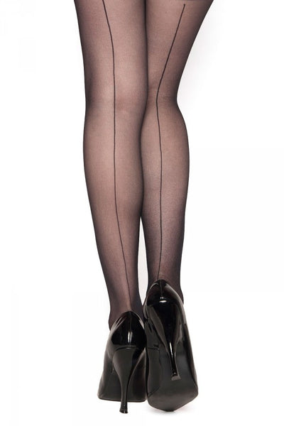 Sheer Back Seam Stocking in Black