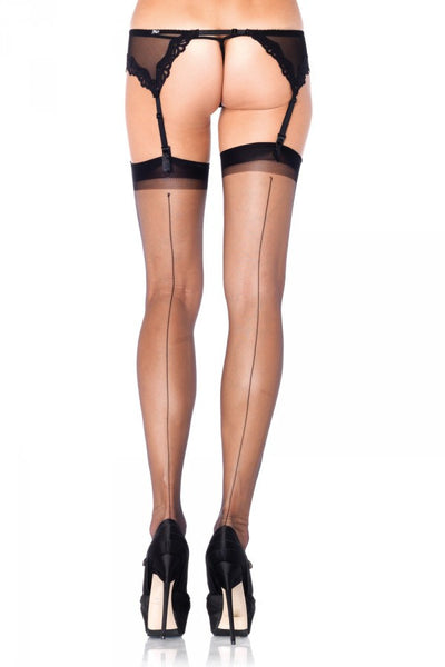 Ultra Sheer Stockings with Backseam in Black
