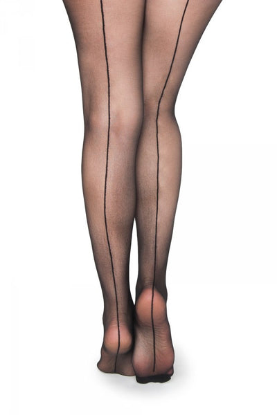 Sheer Back Seam Pantyhose in Black