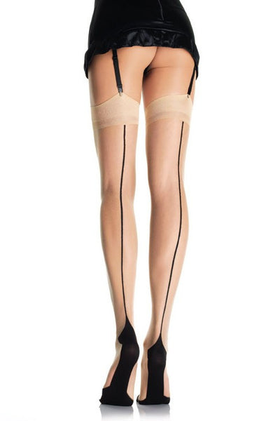 Cuban Heel Stockings in Nude with Backseam