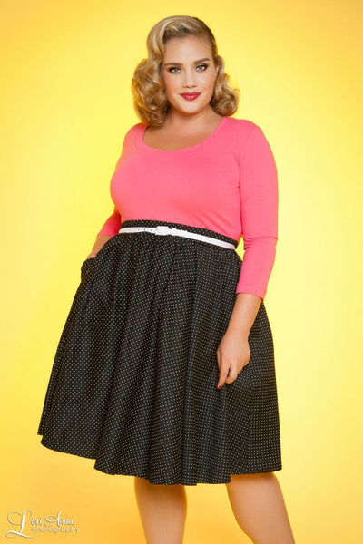 Allison Dress in Black Pin Dots with Hot Pink - Plus Size