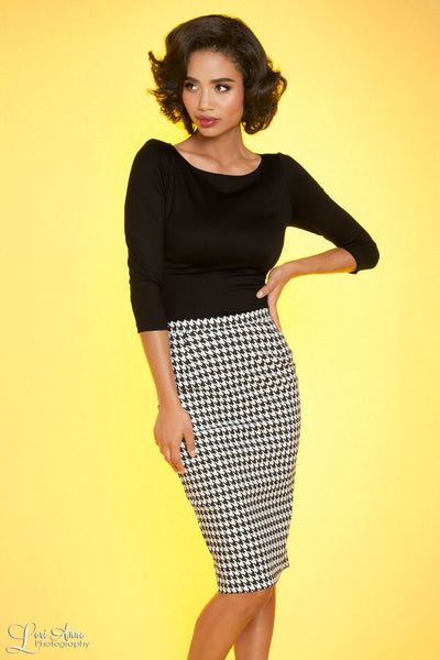 Perfect Pencil Skirt in Houndstooth Bengaline