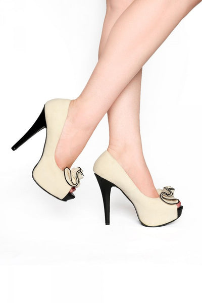 Lolita Pump in Beige Faux Suede