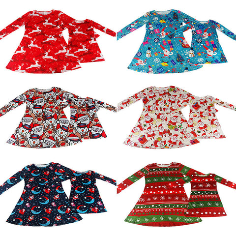 2016 Christmas women kid dress santa deer print long sleeve Family Matching Outfits Xmas Snowman Party Flared Swing Dress Gift