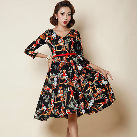 0274-1950s pinup retro Audrey Hepburn vintage rockabilly women's fashion sleeve swing dress in black western lady