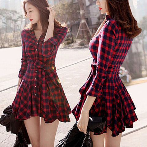 2015 New Arrivals Women Dress Plaid Printed Blouse Dresses Fashion Irregular Long Sleeve tshirt dress Mini Vestidos With Belt