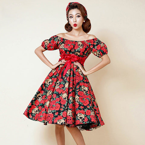 0264-1950s Rockabilly pinup fashion classic elegant party swing dress in skull and rose