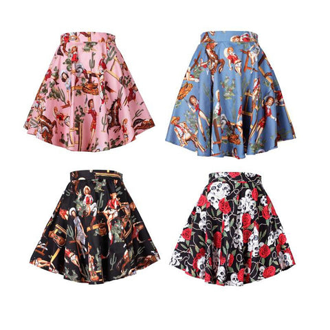 0056-1950s vintage pinup Audrey Hepburn rockabilly multicolor mini A line skirt in daughter of the west plus size UK8-24