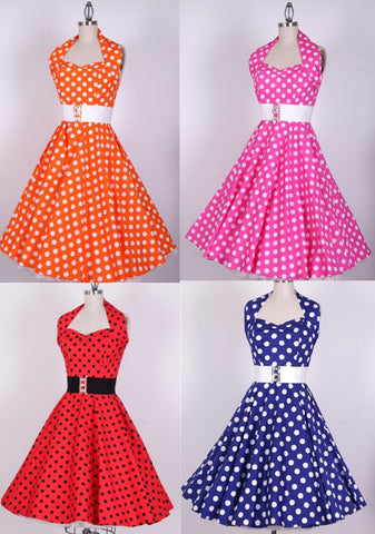 0157-wholesale 1950s pinup audrey Hepburn retro vintage rockabilly women's Classy polka dots dress plus size UK8-24